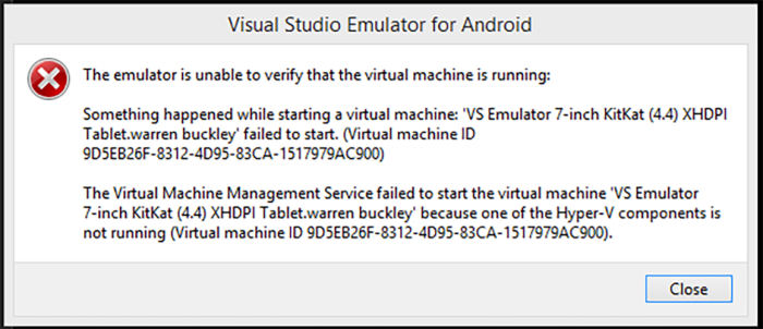 Visual Studio Android Emulator